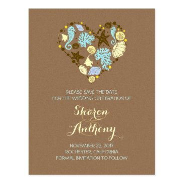 Beach Themed Cute seashells heart beach wedding save the date postcard