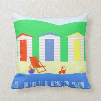 cute seaside beach red blue yellow throw pillow