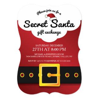 CUTE Secret Santa Gift Exchange Party 5x7 Paper Invitation Card