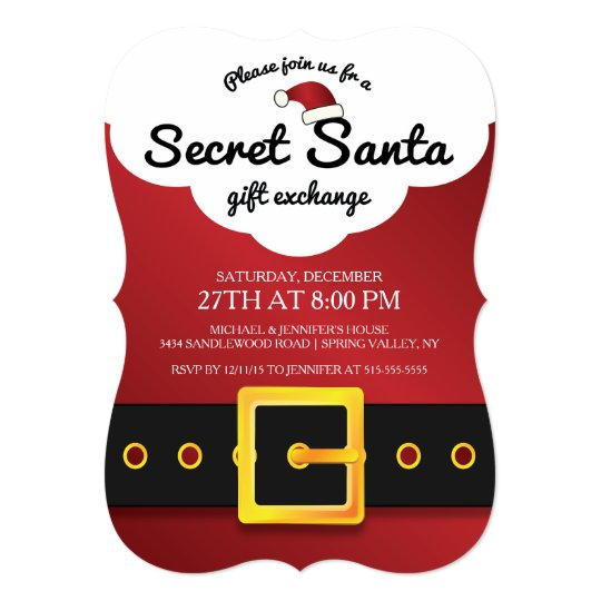 CUTE Secret Santa Gift Exchange Party Card