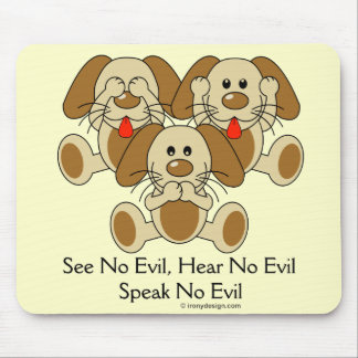 Cute See No Evil Puppies Mouse Pad