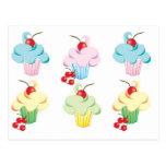 Cute set of cupcakes postcards