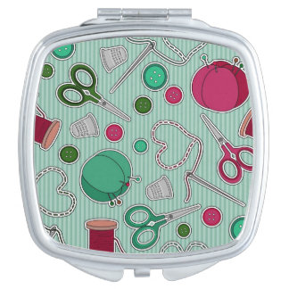Cute Sewing Pattern Green and Purple Compact Mirror