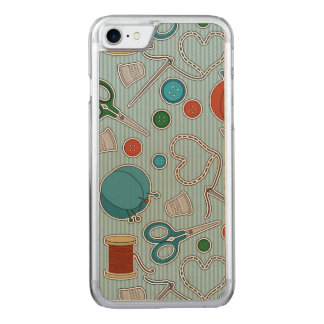 Cute Sewing Themed Pattern Blue Carved iPhone 8/7 Case