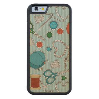 Cute Sewing Themed Pattern Blue Carved® Maple iPhone 6 Bumper