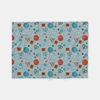 Cute Sewing Themed Pattern Blue Fleece Blanket