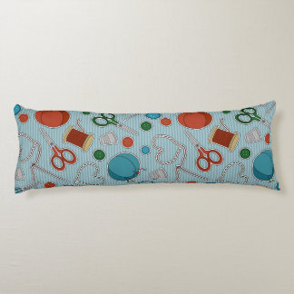 Cute Sewing Themed Pattern Blue Body Pillow