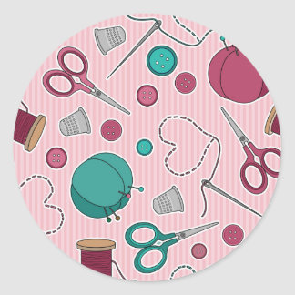 Cute Sewing Themed Pattern Pink Classic Round Sticker