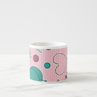 Cute Sewing Themed Pattern Pink Espresso Cup