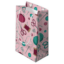 Cute Sewing Themed Pattern Pink Small Gift Bag