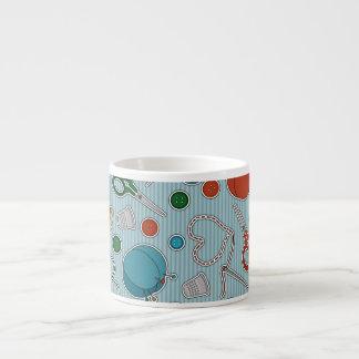 Cute Sewing Themes Pattrn Blue Espresso Cup
