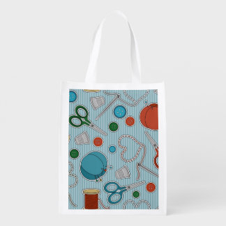 Cute Sewing Themes Pattrn Blue Reusable Grocery Bag