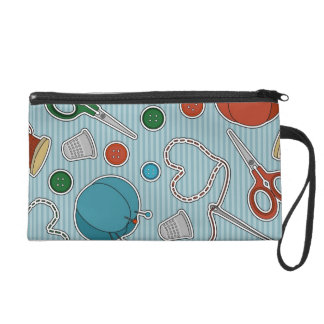 Cute Sewing Themes Pattrn Blue Wristlet Purse
