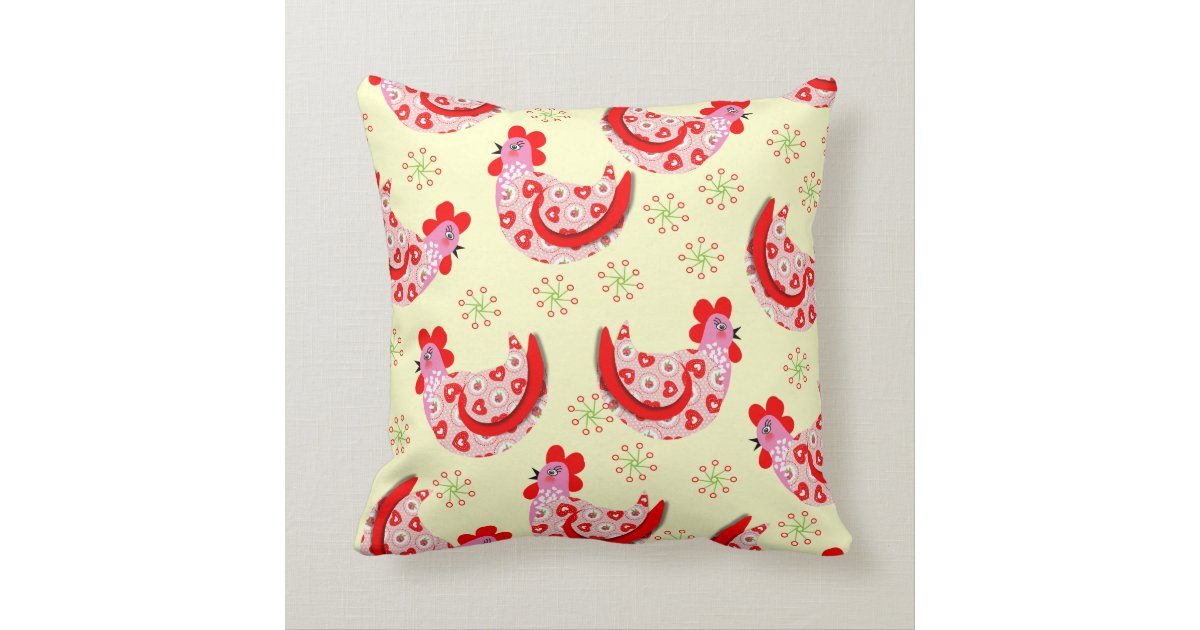 Vintage Inspired Throw Pillows : Cute Shabby Chic Rooster Hens Vintage Inspired Throw Pillow Zazzle