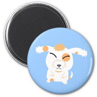 cute shaggy dog 2 inch round magnet