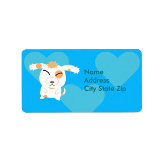 Cute shaggy dog label