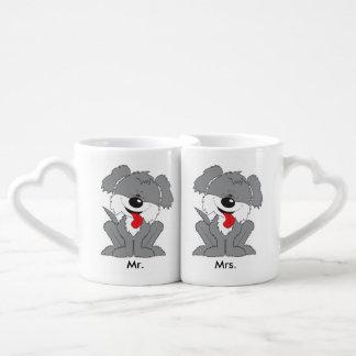 Cute Shaggy Puppy Cartoon Coffee Mug Set