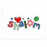 Cute Shalom Greeting Text Expression Postcards