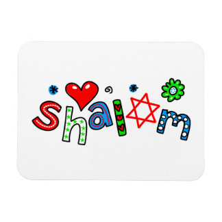 Cute Shalom Greeting Text Expression Rectangular Photo Magnet