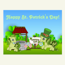 Cute Shamrock Ponies Happy St. Patrick's Day Horse Postcard