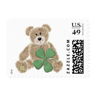 Cute shamrock teddy bear St. Patrick's day stamps