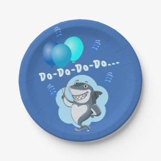 Cute Shark | Blue Balloons Birthday Paper Plate