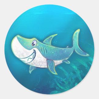 Cute Shark Classic Round Sticker