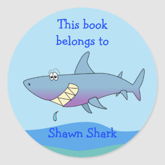 Cute Shark Custom Bookplate Template for Kids Classic Round Sticker