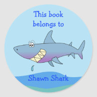 Cute Shark Custom Bookplate Template for Kids Stickers