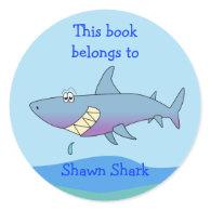 Cute Shark Custom Bookplate Template for Kids Stickers