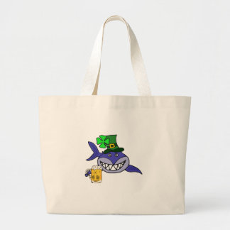 Cute Shark Drinking Beer St. Patrick's Day Cartoon Large Tote Bag
