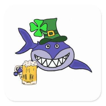 Cute Shark Drinking Beer St. Patrick's Day Cartoon Square Sticker