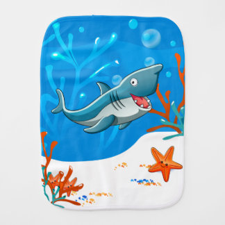 Cute Shark Ocean Baby Burp Baby Burp Cloth