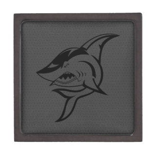 Cute Shark On Gray Leather Print Jewelry Box