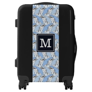 Beach Themed Cute Shark Pattern| Add Your Initial Luggage