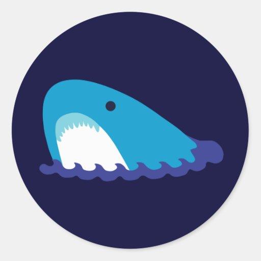 Cute Shark Round Stickers