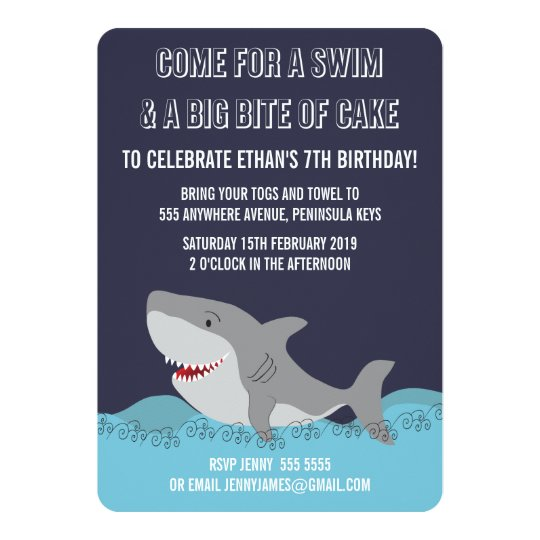 cute shark theme pool party boys birthday invite zazzle com