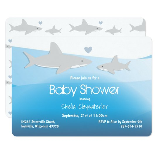 Cute sharks and ocean baby shower invitation zazzle cute sharks and ocean baby shower invitation filmwisefo