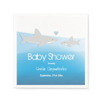 Cute Sharks and Ocean | Baby Shower Paper Napkins