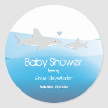 Cute Sharks and Ocean | Baby Shower Sticker