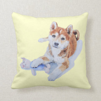 Cute sheba inu puppy & teddy reversable cushion