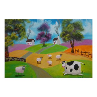 Cute sheep and cow folk painting by Gordon Bruce Posters