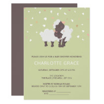 Cute Sheep And Lamb Personalized Baby Shower Card