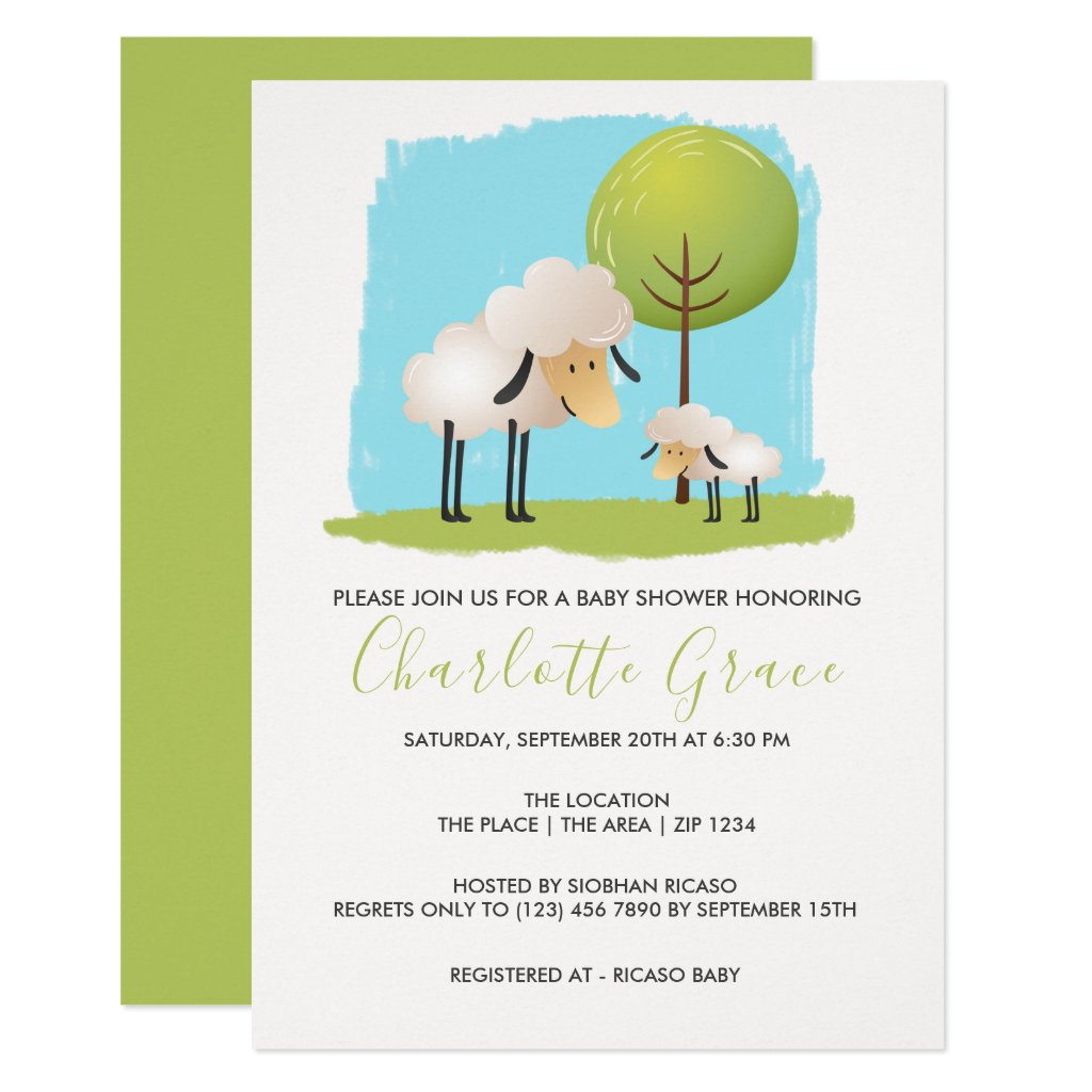 Cute Sheep And Lambs Personalized Baby Shower Invitation