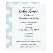 Cute sheep baby shower invitations for boy or girl