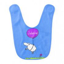 Cute sheep balloon cartoon humor illustration baby bib