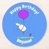 Cute sheep balloon cartoon humor illustration round paper coaster