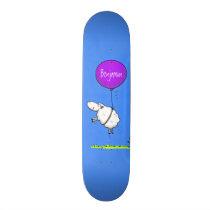 Cute sheep balloon cartoon humor illustration skateboard