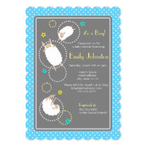 cute sheep boy baby shower invitation