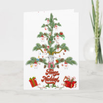Cute Sheep Christmas Tree Fleece Navidad Card